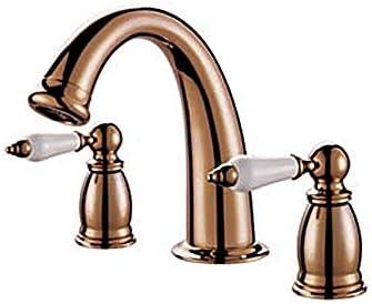 家庭用浴室の蛇口 二つのクラシックゴールド流域の蛇口は、調節可能な水温の蛇口を処理します 浴室の台所の蛇口 (Color : Gold)