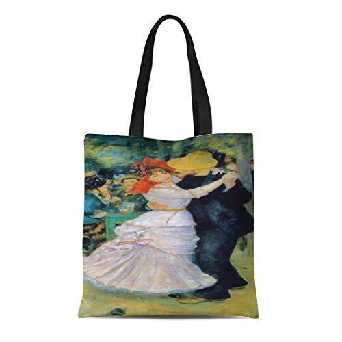 Renoir Dance At Bougival - Semtomn Cotton Line Canvas Tote Bag Pierre Dance at Bougival Renoir Auguste Arts Impressionism Dancing Reusable Handbag Shoulder Grocery Shopping Bags
