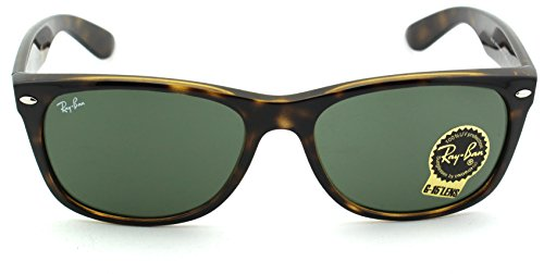 Ray-Ban RB2132 New Wayfarer Crystal Unisex Sunglasses (Tortoise Frame/Crystal Green Lens 902, 58)