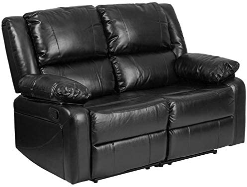 Pemberly Row Leather Reclining Loveseat in Black