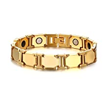 Vnox Mens Tungsten Two Tone Healthy Theraphy Healing Germanium Magnetic Energy Bracelet Gold,8.26''