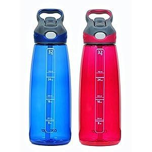 Contigo 32oz Autospout Addison Water Bottles, Sangria & Monaco (2 Pack)