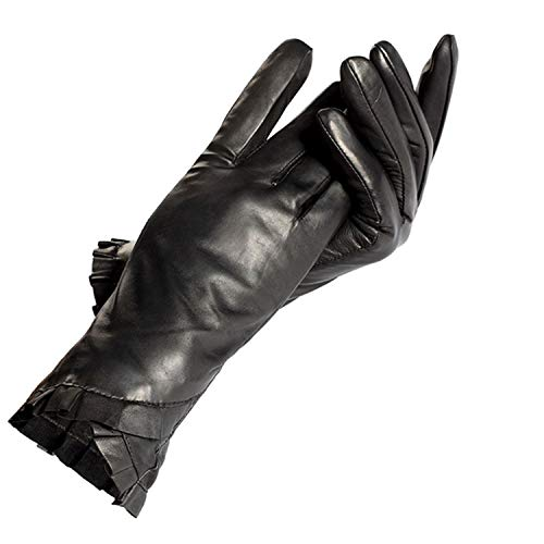 AMAZING AMAZING Black Leather Gloves Women,Genuine Leather,Cotton Lining,Adult,Winter Female Leather Gloves,Women Warm Gloves,