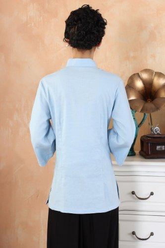 882de46e6 AvaCostume Women's Linen Chinese Style 3/4 Sleeve Blouse Qipao Top Shirt