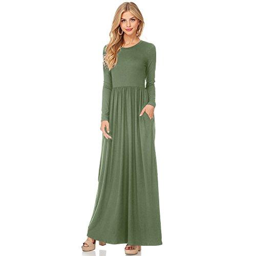 verde Ejército Vestido De Fiesta XINGMU Mujeres Cuello O Vestido Visten Vestido W16qf