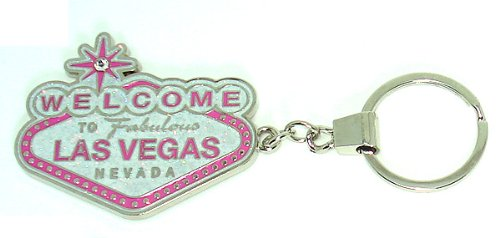 Key Chain Las Vegas Sign Pink With Glitter Souvenirs