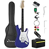 Donner DST-100R Full-Size 39 Inch Electric Guitar Sapphire Blue with Amplifier, Bag, Capo, Strap, String, Tuner, Cable and Pick