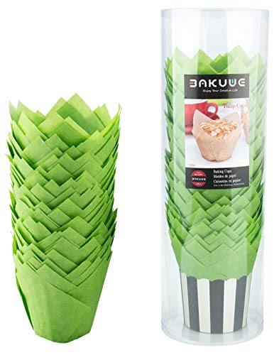 Bakuwe Standard Tulip Muffin Cupcake Liners Paper Baking Cups,100-Count (Green) -