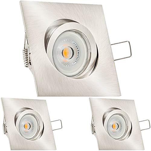 3er LED LED LED Einbaustrahler Set Silber gebürstet mit LED GU10 Markenstrahler von LEDANDO - 7W - warmweiss - 30° Abstrahlwinkel - schwenkbar - 50W Ersatz - A+ - LED Spot 7 Watt - Einbauleuchte LED eckig 7bda26