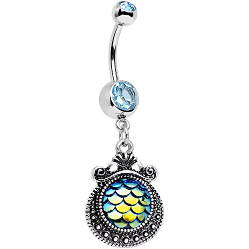Body Candy Steel Brilliant Blue Accent Iridescent Blue Green Mermaid Scales Dangle Belly Ring