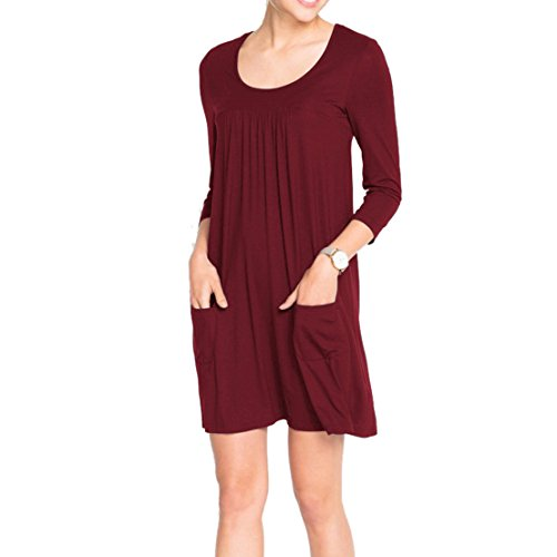 KIKOY Women's 3/4 Sleeve Vintage Boho A-Line Dress Casual Loose T-Shirt Dress (Womens Sleeve T-shirt Cap Mexico)