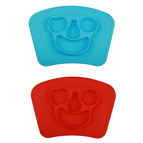 Mockins 2 pack Mess Free Silicone Suction Baby Placemat With Bowl & Plate Safe For Children Kids & Toddlers Fits Most Highchair Feeding Tray In Your Kitchen Or Dining Table - Blue & Red Fruit ... ... ... ...