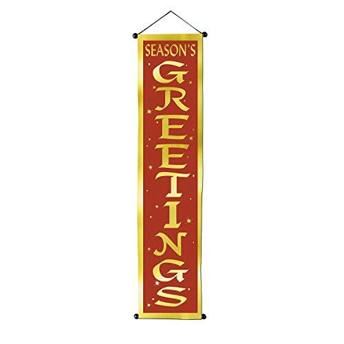 (Beistle Seasons Greetings Velvet-Lame Door Panel, 12 1/4 by 48 1/2-Inch, Red/Gold )