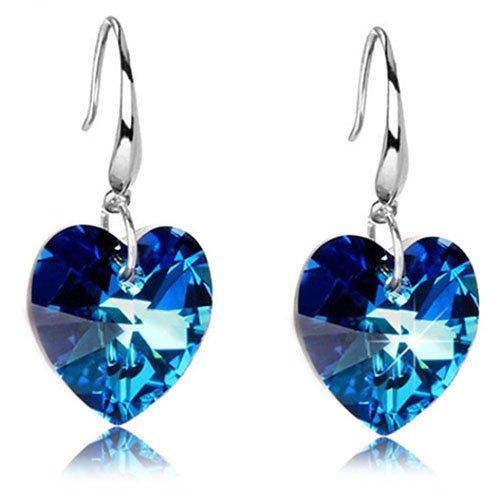 Baost 1Pair Women's Blue Heart Charm Pendant Elegant Crystal Rhinestone Ear Stud Dangle Earrings Hook Eardrop Earrings Bridal Wedding Jewelry Gift for Women Girls Random