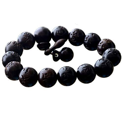 Bracelet Lightning Struck Jujube Wood Mala Prayer Beads Round Carving Sanskrit Feng Shui Lucky