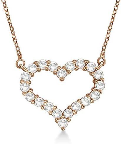 Collar con colgante de diamantes de corazón abierto 14k Oro rosa, Collar de oro con diamantes en forma de corazón - MEDIUM Heart. Joyería de San Valentín, Idea de regalo para ella