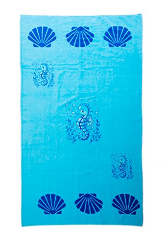 zipped for Beach PLUS Towel 50 Flops Set closure Beach Ladies For x PLUS cms 3 Bags For Canvas 16 Tote Bag Summer Girls Blue Flip Fairee Light x Shopper Seahorse By 38 Airee The Towels Pool Women Piece Features 5rw5Un0t8