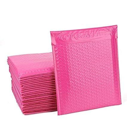 Bolsitas de regalo de color metálico acolchadas, pelar y junta de burbujas, 180 x 260 mm, sobre rosa metálico, 50