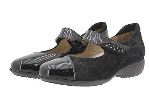 Calzado mujer confort de piel Piesanto 9677 zapato mary-jean casual cómodo ancho Negro