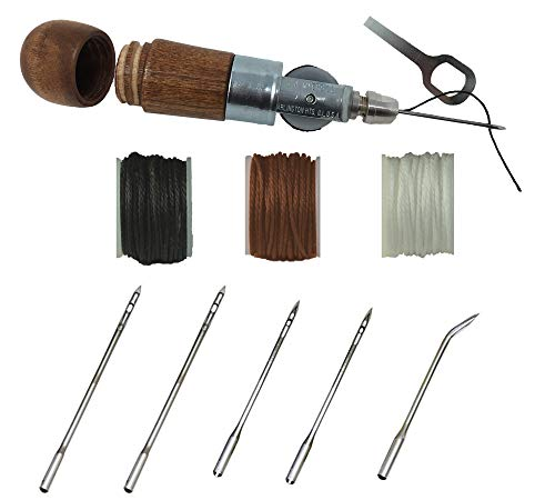 Professional Leathercraft Accessories, Sewing, Stitching Awl Tool Kit & Supplies, HEAVY DUTY - MADE in USA - DIY Craft, Leather, Heavy Fabric, Canvas, Upholstery, Bag, Shoe, Belt Repair Lockstitch Set