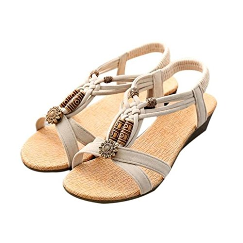 CieKen Women Shoes Summer Women Beading Bohemian Casual Beach Flat T-Strap Sandals Extra Size (Beige, US:8.5)