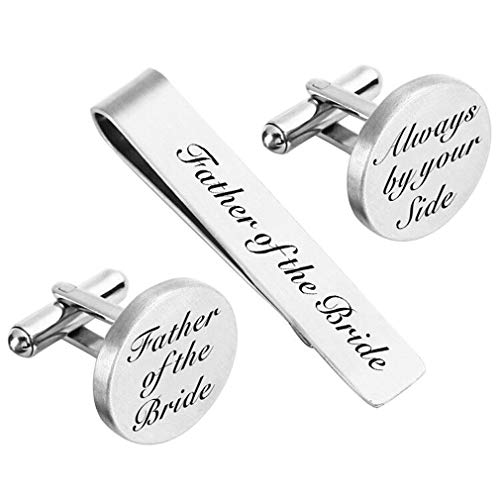 (ZUNON Cufflinks Wedding Engraved Father of The Bride Gifts Always by Your Side Tie Clip Tack Bar (Father of The Bride))