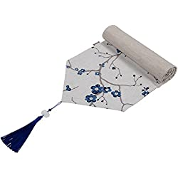 "Nobildonna Plum Blossom Indigo Runner 79"" x 12"" Wedding Party Decoration Kitchen Decor Farmhouse Decoration"
