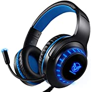 Pacrate Audífonos Gamer con Micrófono y Luz LED Cancelación de Ruido Headset Gaming para PC Mac Xbox One PS4 B