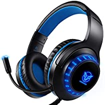 Auriculares Gaming PS4 Estéreo da 3,5 mm Jack con Micrófono Flexible y Luz LED, Cascos Gaming para PC/Xbox One/Nintendo