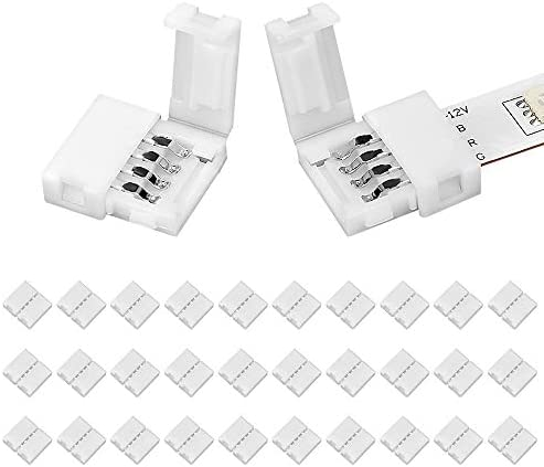 30 Packs 4-Pin RGB LED Strip Connectors,Unwired Gapless Solderless LED Connector for SMD 5050 10mm RGB LED Strip Light