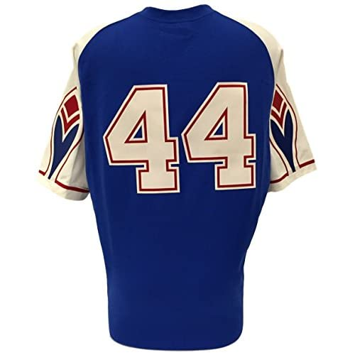 pretty nice 65323 448a3 Hank Aaron Signed Braves Blue Mitchell and Ness Cooperstown ...