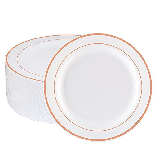 WDF 60pcs Disposable Plastic Plates-7.5inch Salad/Dessert Plates- Rose Gold Trim Real China Design - Premium Heavy Duty Plastic Plates for - Set Rose Desert