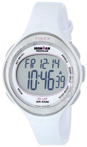 Timex Women's T5K601 Ironman Clear View 30-Lap White Resin Strap Watch
