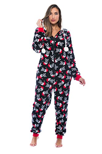 Just Love Adult Onesie / Pajamas, Black-Santa Skull, Large -