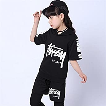 52fe38558aa3f Amazon | 上下2点セット 半袖 キッズ ヒップホップ ダンス衣装 ダンスウェア 男の子 女の子 ブラック 130cm | トレーナー・パーカー  通販