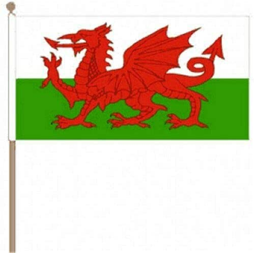 Flagmania® 12 Stück Wales-Flaggen (30,5 x 45,7 cm) + 59 mm Button Badge