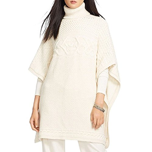 Lauren Ralph Lauren Womens Wool Poncho Sleeves Poncho Sweater Ivory Petite ()