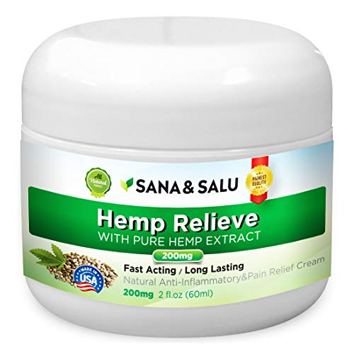 Natural Hemp Extract Pain Relief Cream with Arnica Montana & MSM, Reduces Inflammation, Joint, Arthritis, Muscle, Back, Knee Pain by Sana & Salu (200mg, 2 oz.)