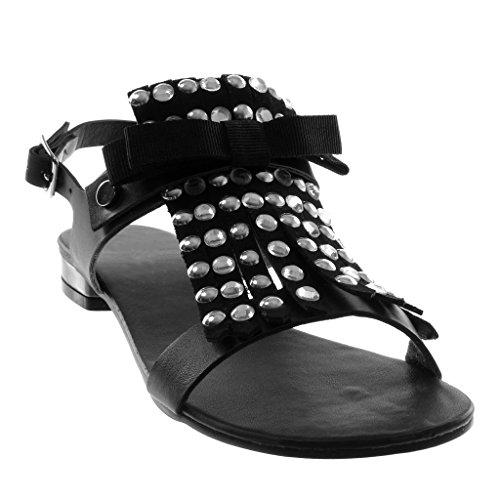 Angkorly Zapatillas Moda Sandalias Correa de Tobillo Mujer Nodo Fleco Tachonado Tacón Ancho 2.5 cm Negro