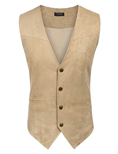 Coofandy Men's Slim Leather Vest Suede Vest Single-Breasted Vest, Brown, Small Tan Leather Vest