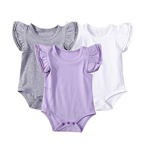 Mubineo Infant Baby Girls Basic 3-5-8-Pack Ruffle Short Sleeve Cotton Bodysuits (Ballon(3-Pack), 0-6 Months)