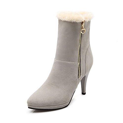AgooLar Damen Hoher Absatz Rein Rund Zehe Reißverschluss Stiefel mit Metallisch, Weiß, 37