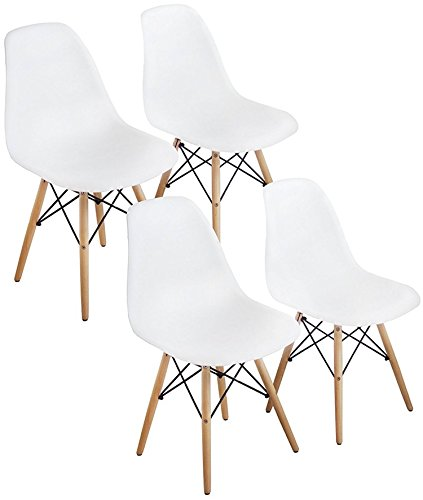 Mid Century Modern White Dining Room Chairs Set