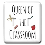3dRose 3DRose Gabriella B - Quote - Image of Queen of the Classroom Quote - Light Switch Covers - double toggle switch (lsp_292810_2)