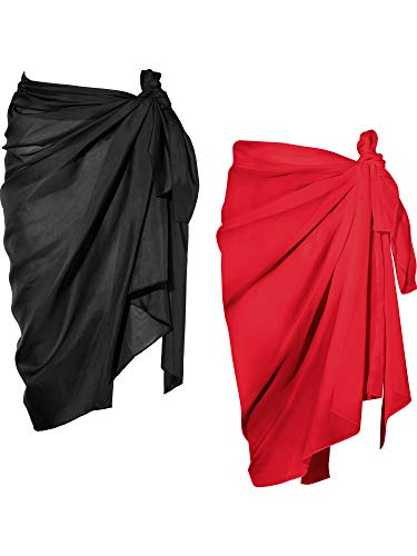 Chuangdi 2 Pieces Women Beach Wrap Sarong Cover Up Chiffon Swimsuit Wrap Skirts (Black and Red, Long A)