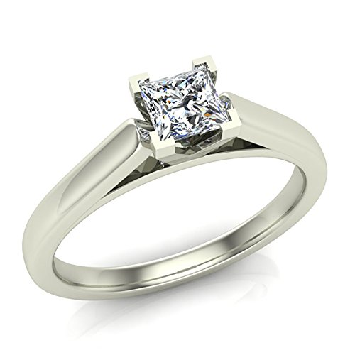 Princess Cut Cathedral Solitaire Diamond Engagement Ring 1/4 Carat Total Weight 0.25 ct 14K Gold (G,I1)