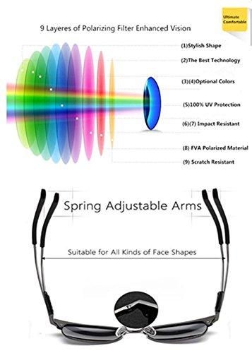 de Marco de negro gris Retro sol polarizada conducción unisex sol gafas Wayfarer Conducción Vintage UV polarizadas gafas pHqIIAT