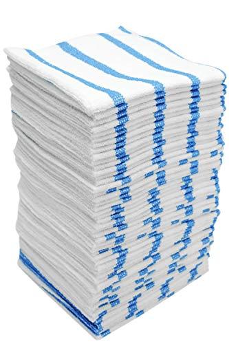 Viking Car Care 449701 White/Blue Stripe Bulk Edgeless Microfiber Cleaning Cloths, 50 Pack
