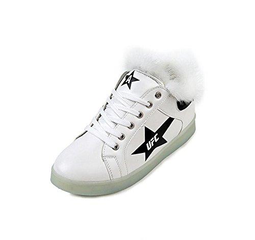 Performances-Women Girls USB Charging Light Up Shoes High Couple LED Shoes Christmas Snow Boots (White-4.5 B(M) US Women/3 D(M) US Men) (O12 Of Christmas Days)