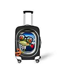 HUGSIDEA Funny Cartoon Animals Print Elastic Luggage Cover Protector with Zipper